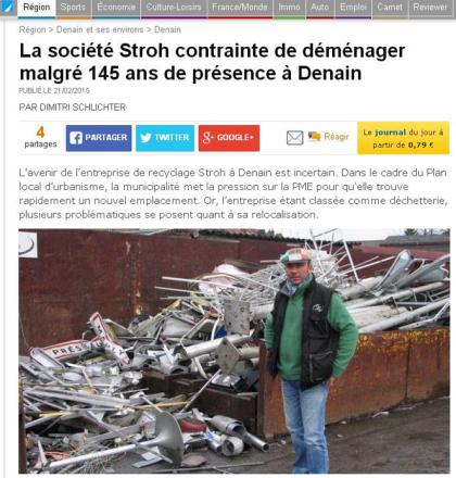 Reportage : Reportage Société Stroh contrainte de déménager